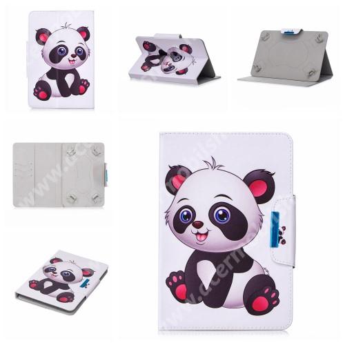 """UNIVERZÁLIS notesz / mappa tablet PC tok - PANDA MINTÁS - álló, bőr, mágneses, asztali tartó funkciós, 10"""" készülékekhez"""