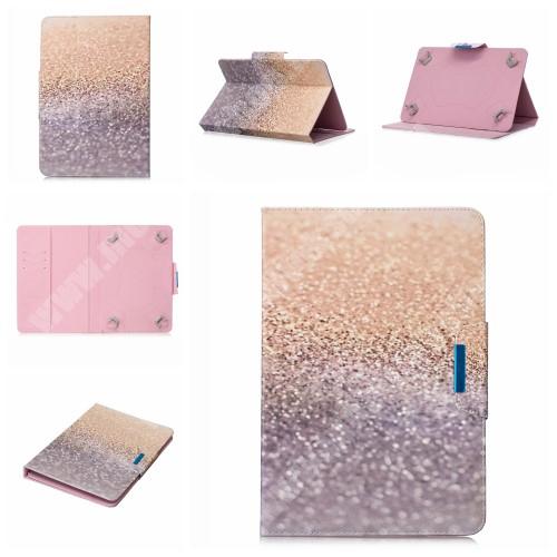 """UNIVERZÁLIS notesz / mappa tablet PC tok - CSILLÁM MINTÁS - álló, bőr, mágneses, asztali tartó funkciós, 10"""" készülékekhez"""
