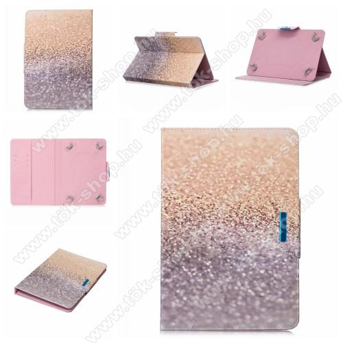 UNIVERZÁLIS notesz / mappa tablet PC tok - CSILLÁM MINTÁS - álló, bőr, mágneses, asztali tartó funkciós, 10