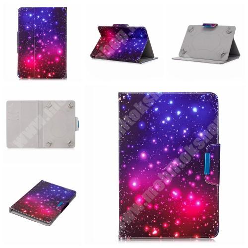 """UNIVERZÁLIS notesz / mappa tablet PC tok - GALAXIS MINTÁS - álló, bőr, mágneses, asztali tartó funkciós, 10"""" készülékekhez"""