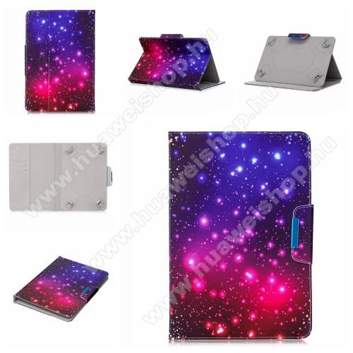 UNIVERZÁLIS notesz / mappa tablet PC tok - GALAXIS MINTÁS - álló, bőr, mágneses, asztali tartó funkciós, 10