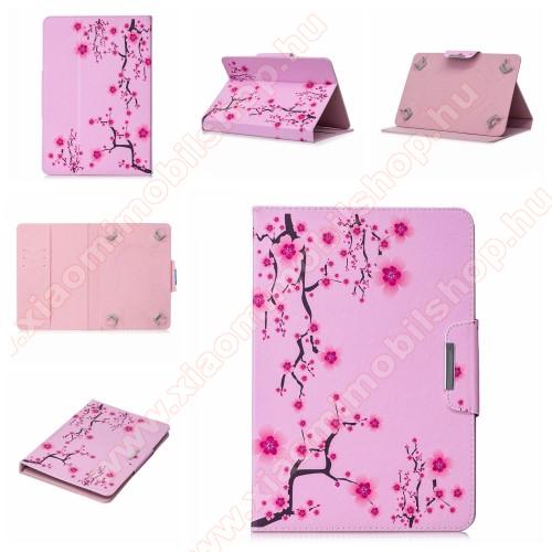 UNIVERZÁLIS notesz / mappa tablet PC tok - VIRÁGZÓ FA MINTÁS - álló, bőr, mágneses, asztali tartó funkciós, 10