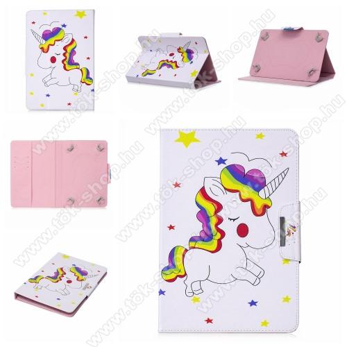 UNIVERZÁLIS notesz / mappa tablet PC tok - UNIKORNIS / CSILLAG MINTÁS - álló, bőr, mágneses, asztali tartó funkciós, 10