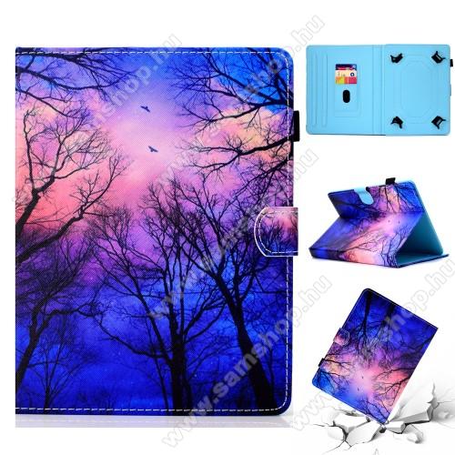 UNIVERZÁLIS notesz / mappa tablet PC tok - ÉJSZAKA MINTÁS - álló, bőr, mágneses, asztali tartó funkciós, 10