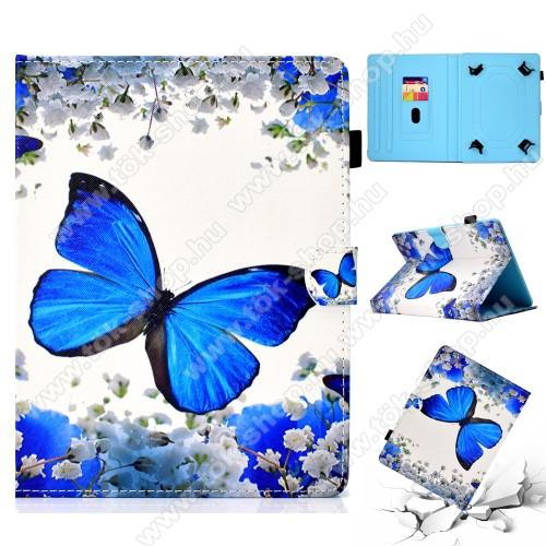 UNIVERZÁLIS notesz / mappa tablet PC tok - PILLANGÓ / VIRÁG MINTÁS - álló, bőr, mágneses, asztali tartó funkciós, 10