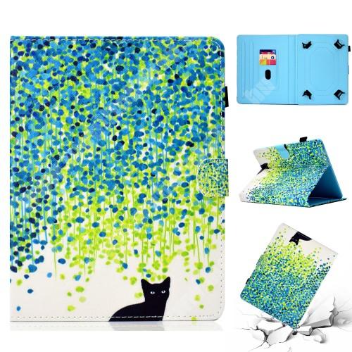 """UNIVERZÁLIS notesz / mappa tablet PC tok - CICA MINTÁS - álló, bőr, mágneses, asztali tartó funkciós, 10"""" készülékekhez"""