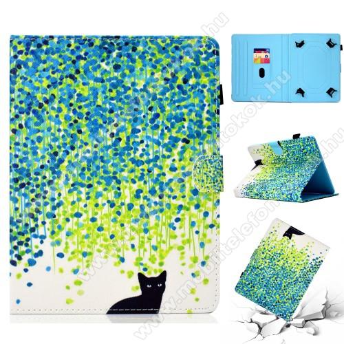 UNIVERZÁLIS notesz / mappa tablet PC tok - CICA MINTÁS - álló, bőr, mágneses, asztali tartó funkciós, 10