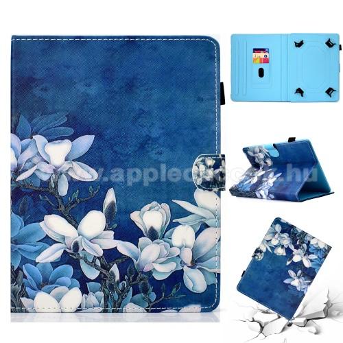 UNIVERZÁLIS notesz / mappa tablet PC tok - VIRÁG MINTÁS - álló, bőr, mágneses, asztali tartó funkciós, 10