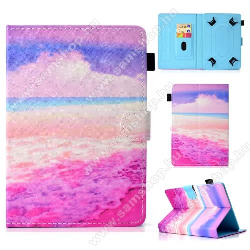 SAMSUNG Galaxy Tab 2 10.1 (P5100)UNIVERZÁLIS notesz / mappa tablet PC tok - RÓZSASZÍN TENGER MINTÁS - álló, bőr, mágneses, asztali tartó funkciós, 10
