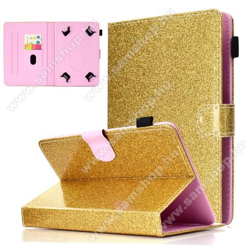 SAMSUNG P5200 Galaxy Tab 3 10.1UNIVERZÁLIS notesz / mappa tablet PC tok - ARANY CSILLÁMOS MINTÁS - álló, bőr, mágneses, asztali tartó funkciós, tolltartó, 10