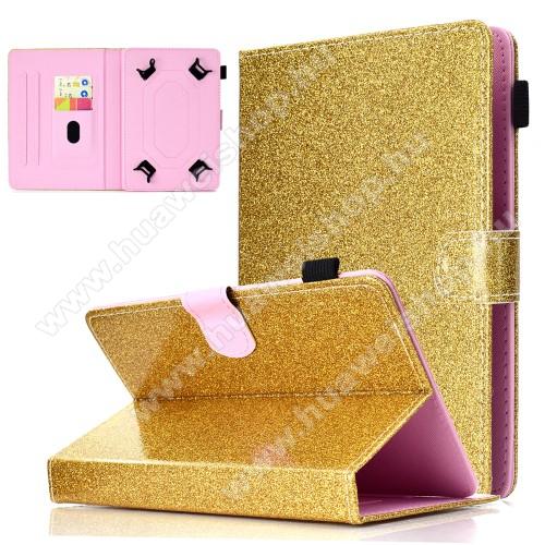UNIVERZÁLIS notesz / mappa tablet PC tok - ARANY CSILLÁMOS MINTÁS - álló, bőr, mágneses, asztali tartó funkciós, tolltartó, 10