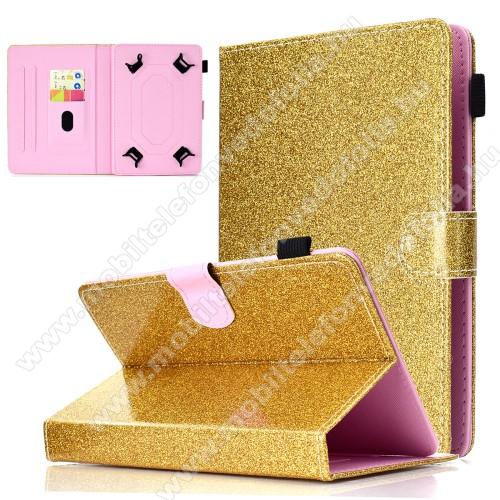 HUAWEI MediaPad T5 10UNIVERZÁLIS notesz / mappa tablet PC tok - ARANY CSILLÁMOS MINTÁS - álló, bőr, mágneses, asztali tartó funkciós, tolltartó, 10
