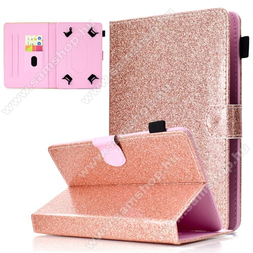 SAMSUNG P7320 Galaxy Tab 8.9 LTEUNIVERZÁLIS notesz / mappa tablet PC tok - ROSE GOLD CSILLÁMOS MINTÁS - álló, bőr, mágneses, asztali tartó funkciós, tolltartó, 10