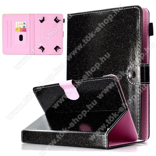 UNIVERZÁLIS notesz / mappa tablet PC tok - FEKETE CSILLÁMOS MINTÁS - álló, bőr, mágneses, asztali tartó funkciós, tolltartó, 10