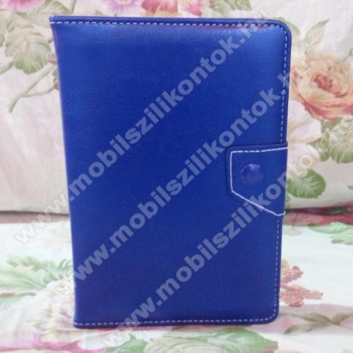 UNIVERZÁLIS notesz / mappa tablet PC tok - SÖTÉTKÉK - álló, bőr, mágneses, asztali tartó funkciós, 8