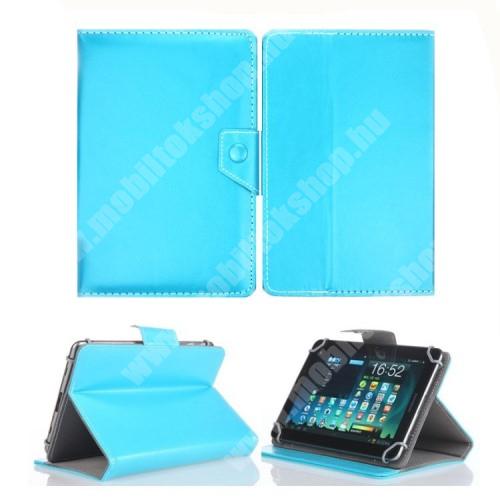 """UNIVERZÁLIS notesz / mappa tablet PC tok - VILÁGOSKÉK - álló, bőr, mágneses, asztali tartó funkciós, 8"""" készülékekhez - 215mm hosszú - 146-169 mm-ig állítható befogó keret"""