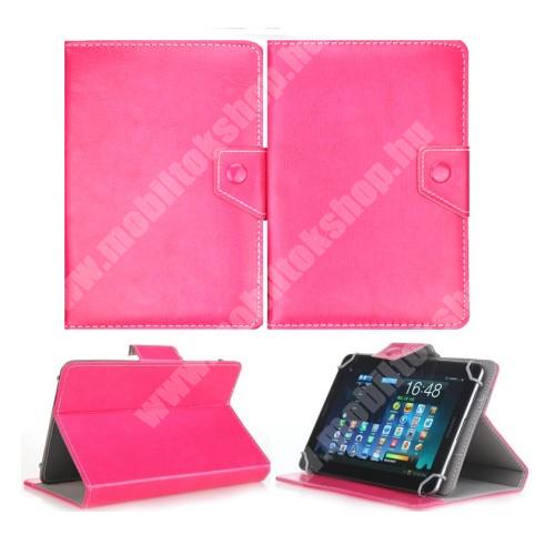 """UNIVERZÁLIS notesz / mappa tablet PC tok - MAGENTA - álló, bőr, mágneses, asztali tartó funkciós, 8"""" készülékekhez - 215mm hosszú - 146-169 mm-ig állítható befogó keret"""
