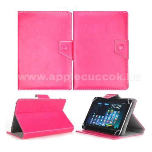 UNIVERZÁLIS notesz / mappa tablet PC tok - MAGENTA - álló, bőr, mágneses, asztali tartó funkciós, 8