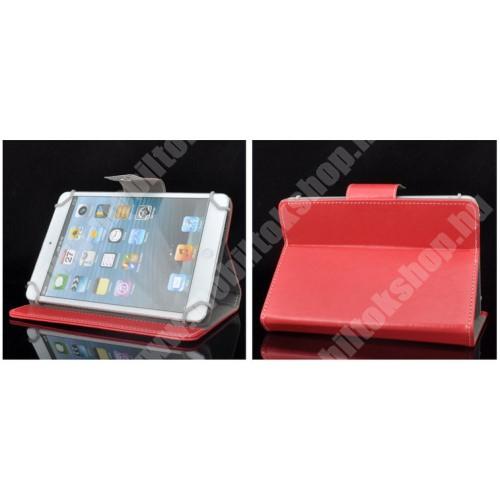 """UNIVERZÁLIS notesz / mappa tablet PC tok - PIROS - álló, bőr, mágneses, asztali tartó funkciós, 8"""" készülékekhez - 215mm hosszú - 146-169 mm-ig állítható befogó keret"""