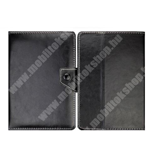"""VODAFONE Smart Tab 7 UNIVERZÁLIS notesz / mappa tablet PC tok - FEKETE - álló, bőr, mágneses, asztali tartó funkciós, 8"""" készülékekhez - 215mm hosszú - 146-169 mm-ig állítható befogó keret"""