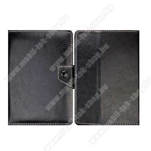 UNIVERZÁLIS notesz / mappa tablet PC tok - FEKETE - álló, bőr, mágneses, asztali tartó funkciós, 8