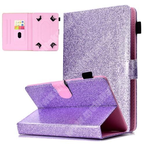 """SAMSUNG GT-N5100 Galaxy Note 8.0 UNIVERZÁLIS notesz / mappa tablet PC tok - LILA CSILLÁMOS MINTÁS - álló, bőr, mágneses, asztali tartó funkciós, tolltartó, 8"""" készülékekhez - 134x215 mm-ig állítható befogó keret"""