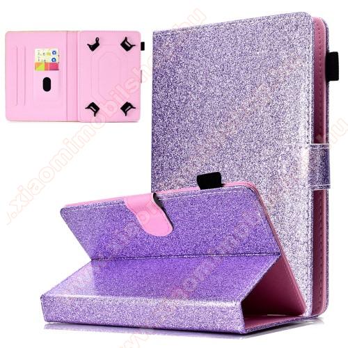 UNIVERZÁLIS notesz / mappa tablet PC tok - LILA CSILLÁMOS MINTÁS - álló, bőr, mágneses, asztali tartó funkciós, tolltartó, 8