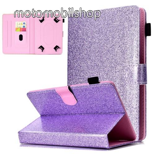 """UNIVERZÁLIS notesz / mappa tablet PC tok - LILA CSILLÁMOS MINTÁS - álló, bőr, mágneses, asztali tartó funkciós, tolltartó, 8"""" készülékekhez - 134x215 mm-ig állítható befogó keret"""