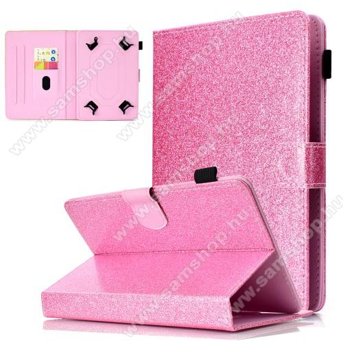 SAMSUNG P6800 Galaxy Tab 7.7UNIVERZÁLIS notesz / mappa tablet PC tok - RÓZSASZÍN CSILLÁMOS MINTÁS - álló, bőr, mágneses, asztali tartó funkciós, tolltartó, 8