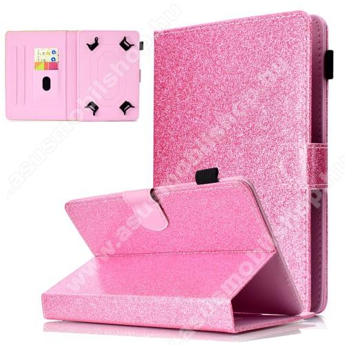 ASUS Memo Pad 7 ME572CUNIVERZÁLIS notesz / mappa tablet PC tok - RÓZSASZÍN CSILLÁMOS MINTÁS - álló, bőr, mágneses, asztali tartó funkciós, tolltartó, 7