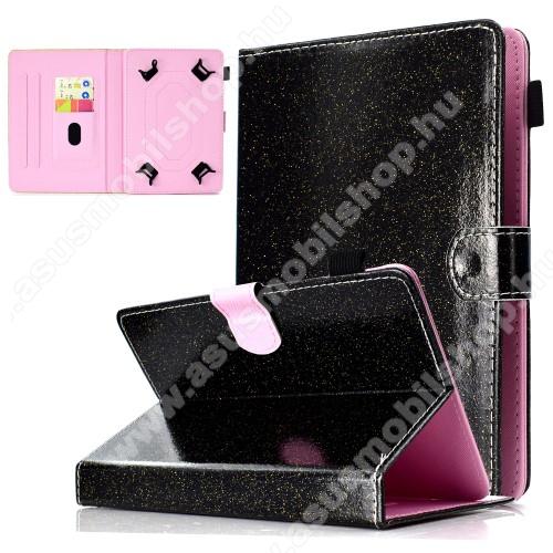 ASUS Memo Pad 7 ME572CUNIVERZÁLIS notesz / mappa tablet PC tok - FEKETE CSILLÁMOS MINTÁS - álló, bőr, mágneses, asztali tartó funkciós, tolltartó, 7