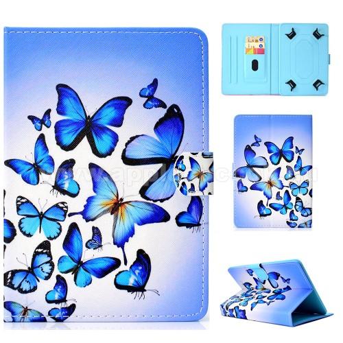 UNIVERZÁLIS notesz / mappa tablet PC tok - KÉK PILLANGÓ MINTÁS - álló, bőr, mágneses, asztali tartó funkciós, 10