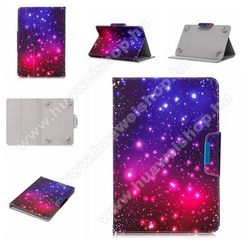 UNIVERZÁLIS notesz / mappa tablet PC tok - GALAXIS MINTÁS - álló, bőr, mágneses, asztali tartó funkciós, 8