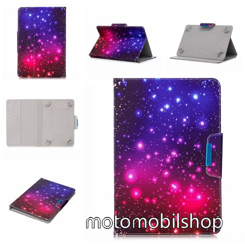 """UNIVERZÁLIS notesz / mappa tablet PC tok - GALAXIS MINTÁS - álló, bőr, mágneses, asztali tartó funkciós, 8"""" készülékekhez"""