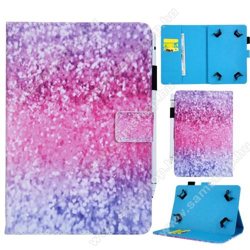 UNIVERZÁLIS notesz / mappa tablet PC tok - CSILLOGÓ FLITTER MINTÁS - álló, bőr, mágneses, bankkártya tartó, tolltartó, asztali tartó funkciós, 8
