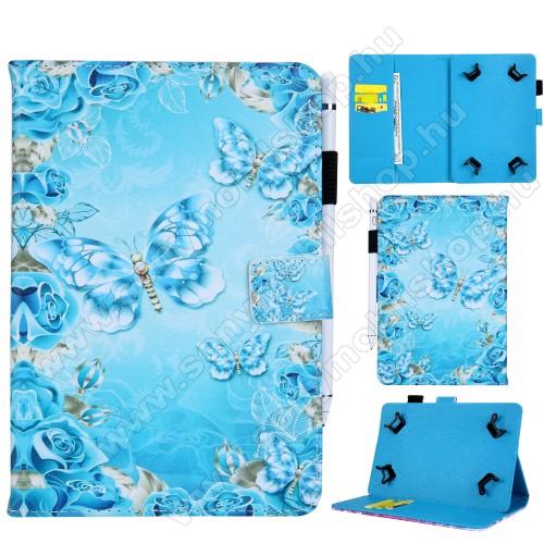 UNIVERZÁLIS notesz / mappa tablet PC tok - KÉK PILLANGÓ / VIRÁG MINTÁS - álló, bőr, mágneses, bankkártya tartó, tolltartó, asztali tartó funkciós, 8