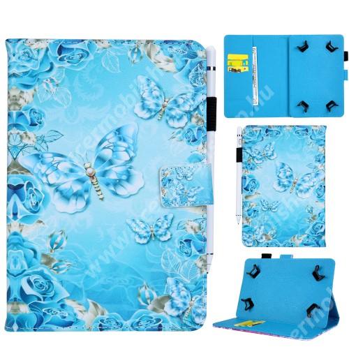 """UNIVERZÁLIS notesz / mappa tablet PC tok - KÉK PILLANGÓ / VIRÁG MINTÁS - álló, bőr, mágneses, bankkártya tartó, tolltartó, asztali tartó funkciós, 8"""" készülékekhez"""