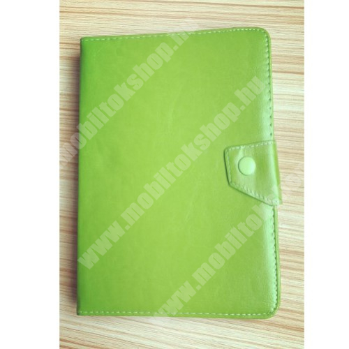 """HUAWEI MediaPad M3 8.4 UNIVERZÁLIS notesz / mappa tablet PC tok - ZÖLD - álló, bőr, mágneses, asztali tartó funkciós, 8"""" készülékekhez - 245mm hosszú - 135-145 mm-ig állítható befogó keret"""