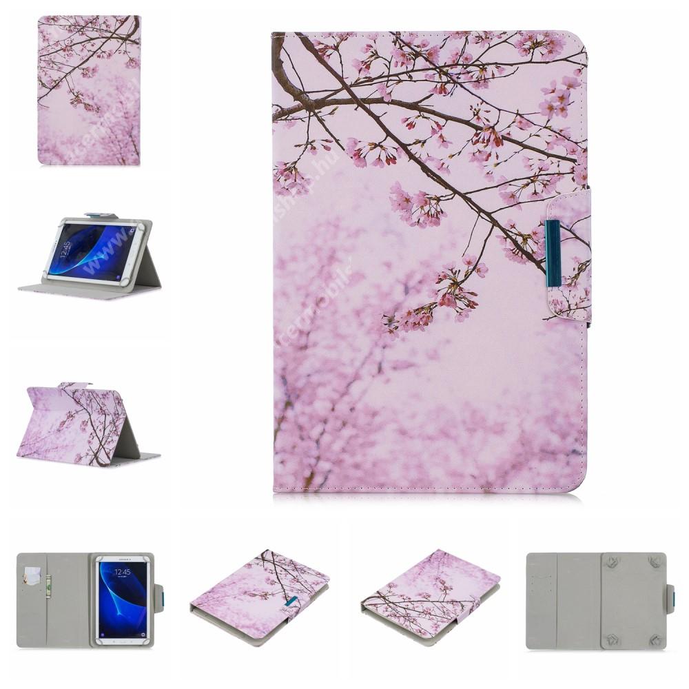 """ACER Iconia Tab A200 UNIVERZÁLIS notesz / mappa tablet PC tok - VIRÁGZÓ FA MINTÁS - álló, bőr, mágneses, bankkártya tartó, asztali tartó funkciós, 10""""-os készülékekhez"""