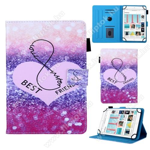 UNIVERZÁLIS notesz / mappa tablet PC tok - BEST FRIENDS MINTÁS - álló, bőr, mágneses, asztali tartó funkciós,belső zsebek, tolltartó, 10