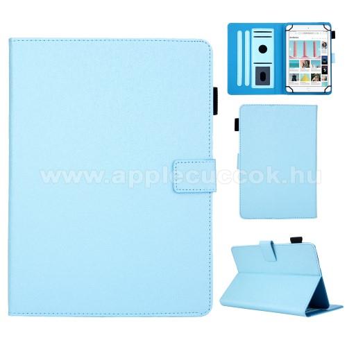 UNIVERZÁLIS notesz / mappa tablet PC tok - VILÁGOSKÉK - álló, bőr, rejtett mágneses záródás, bankkártyatartó zsebek, asztali tartó funkciós, ceruzatartó, 10