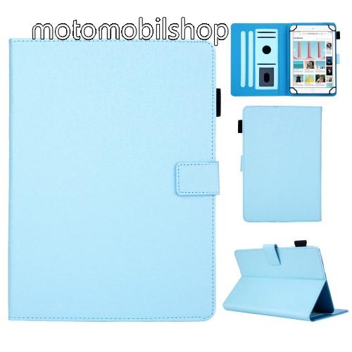 """UNIVERZÁLIS notesz / mappa tablet PC tok - VILÁGOSKÉK - álló, bőr, rejtett mágneses záródás, bankkártyatartó zsebek, asztali tartó funkciós, ceruzatartó, 10""""-os készülékekhez"""