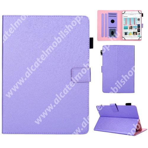 """UNIVERZÁLIS notesz / mappa tablet PC tok - LILA - álló, bőr, rejtett mágneses záródás, bankkártyatartó zsebek, asztali tartó funkciós, ceruzatartó, 10""""-os készülékekhez"""