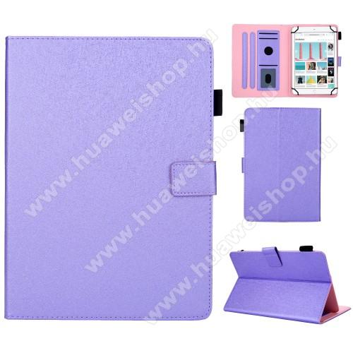 UNIVERZÁLIS notesz / mappa tablet PC tok - LILA - álló, bőr, rejtett mágneses záródás, bankkártyatartó zsebek, asztali tartó funkciós, ceruzatartó, 10