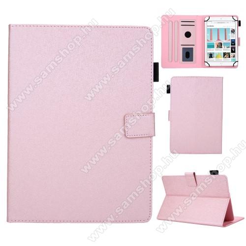 SAMSUNG GT-P5220 Galaxy Tab 3 10.1UNIVERZÁLIS notesz / mappa tablet PC tok - RÓZSASZÍN - álló, bőr, rejtett mágneses záródás, bankkártyatartó zsebek, asztali tartó funkciós, ceruzatartó, 10