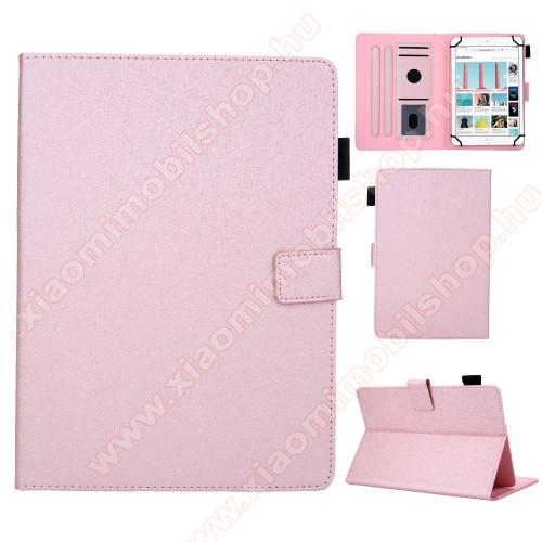 UNIVERZÁLIS notesz / mappa tablet PC tok - RÓZSASZÍN - álló, bőr, rejtett mágneses záródás, bankkártyatartó zsebek, asztali tartó funkciós, ceruzatartó, 10