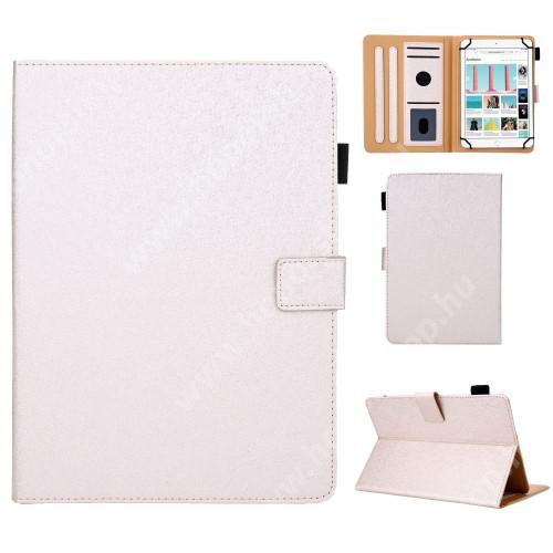 """UNIVERZÁLIS notesz / mappa tablet PC tok - ARANY - álló, bőr, rejtett mágneses záródás, bankkártyatartó zsebek, asztali tartó funkciós, ceruzatartó, 10""""-os készülékekhez"""