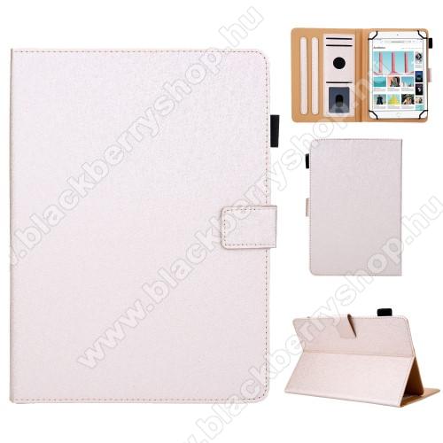 UNIVERZÁLIS notesz / mappa tablet PC tok - ARANY - álló, bőr, rejtett mágneses záródás, bankkártyatartó zsebek, asztali tartó funkciós, ceruzatartó, 10