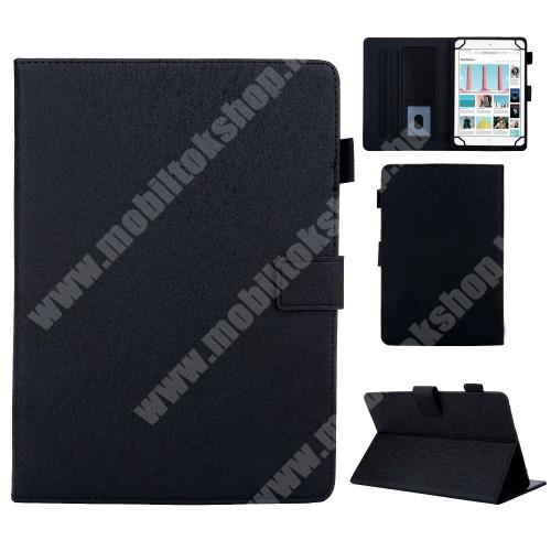 """UNIVERZÁLIS notesz / mappa tablet PC tok - FEKETE - álló, bőr, rejtett mágneses záródás, bankkártyatartó zsebek, asztali tartó funkciós, ceruzatartó, 10""""-os készülékekhez"""