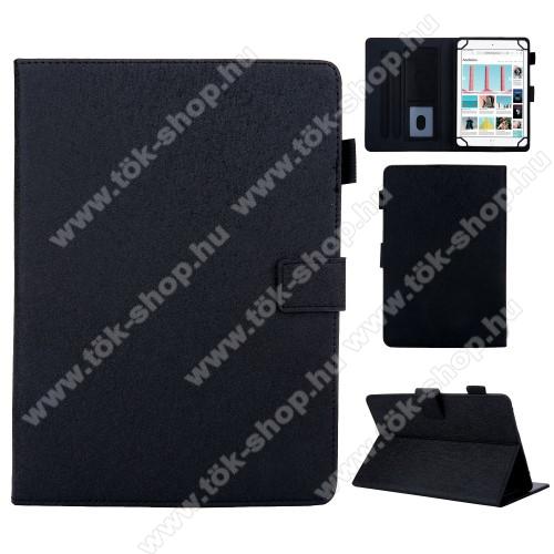 UNIVERZÁLIS notesz / mappa tablet PC tok - FEKETE - álló, bőr, rejtett mágneses záródás, bankkártyatartó zsebek, asztali tartó funkciós, ceruzatartó, 10